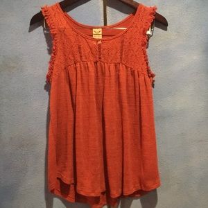 Rust Colored Lace Chest Tank Top